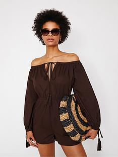 warehouse-off-the-shoulder-beach-playsuit-chocolate