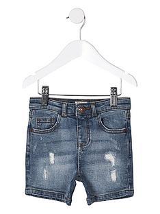654eee33 River Island Mini Mini boys ripped slim fit denim shorts - blue
