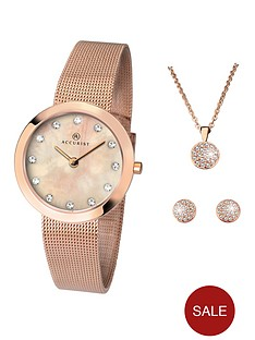 6ddc4aa89 Accurist Accurist Blush Mother of Pearl and Crystal Set Dial Rose Gold  Stainless Steel Mesh Strap Ladies Watch with Rose Gold Necklace and  Earrings Gift Set