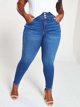 V by Very Curve V By Very Curve High Waist Supersoft Skinny Jeans - Indigo Picture