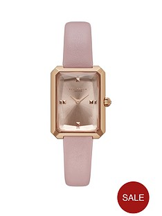 3f12abda84a Ted Baker Ted Baker Blush Cushion Glass Tank Dial Pink Leather Strap Ladies  Watch