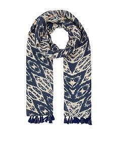 accessorize-tassel-trim-foil-printed-ikat-scarf-navy