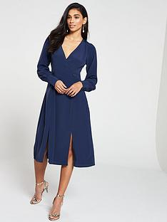 v-by-very-double-button-wrap-midi-dress-navy