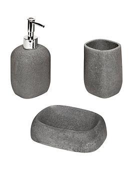AQUALONA  Aqualona Grey Stone 3-Piece Bathroom Accessory Set
