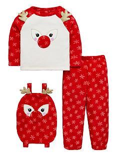 v-by-very-girls-reindeer-three-piece-fleece-pyjama-set-red