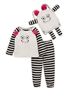 v-by-very-girls-three-piece-monster-fleece-pyjama-set-grey