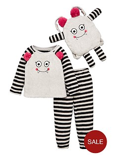 v-by-very-girls-three-piece-monster-fleece-pyjama-set-grey