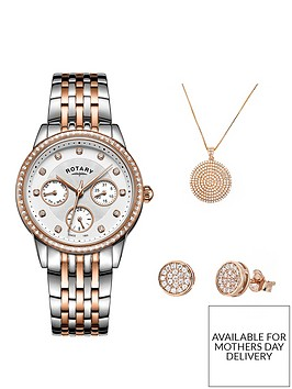 rotary-rotary-white-with-rose-gold-and-crystal-set-detail-dial-two-tone-stainless-steel-bracelet-ladies-watch-and-rose-gold-plated-jewellery-gift-set
