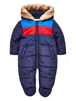 V by Very V By Very Baby Boys Faux Fur Trim Hood Snowsuit - Navy Picture