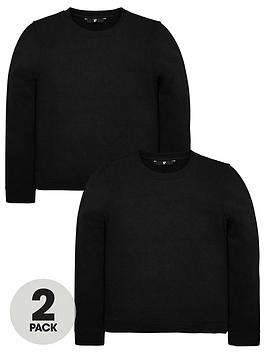V by Very V By Very Unisex 2 Pack Crew Neck Sweat Tops - Black Picture