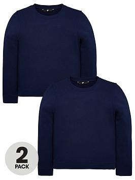 V by Very V By Very Unisex 2 Pack Crew Neck Sweat Tops - Navy Picture