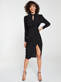 v-by-very-wrap-front-ruched-side-shirt-dress-black