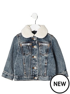 5c570026da13 River Island Mini Mini kids denim borg collar jacket - blue