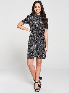 v-by-very-ruched-skirt-high-neck-formal-dress-mono-printnbsp