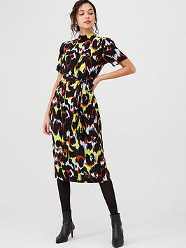 V by Very V By Very Tie Waist High Neck Midi Dress - Animal Picture