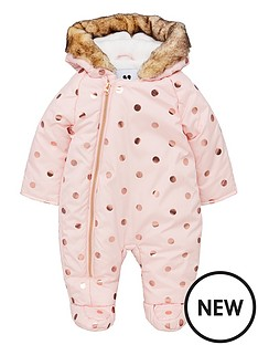 mini-v-by-very-baby-girls-foil-spot-fleece-lined-hooded-snowsuit-pink