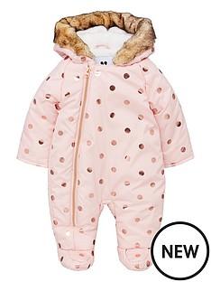 mini-v-by-very-baby-girls-foil-spot-fleece-lined-hooded-snowsuit-pink