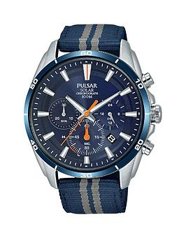 pulsar-pulsar-solar-blue-and-orange-detail-chronograph-dial-blue-and-grey-stripe-fabric-strap-mens-watch