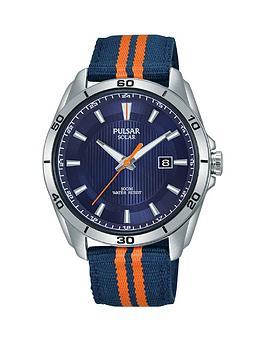 pulsar-pulsar-solar-blue-and-orange-detail-date-dial-blue-and-orange-stripe-fabric-strap-mens-watch