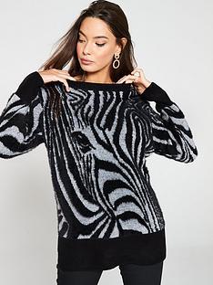 river-island-river-island-zebra-print-knitted-jumper-black