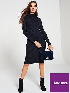 river-island-river-island-zebra-print-knitted-midi-dress-navy