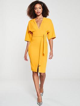 V by Very V By Very Milana Kimono Sleeve Pencil Dress - Yellow Picture