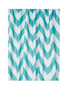 Croydex Croydex Chevron Textile Shower Curtain - Aqua Picture