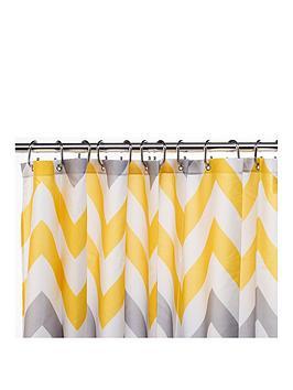 Croydex Croydex Chevron Textile Shower Curtain &Ndash; Yellow, Grey And  ... Picture