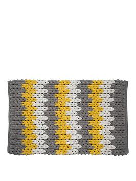 Croydex Croydex Yellow, White And Grey Patterned Bath Mat Picture