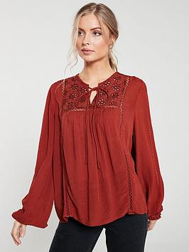 v-by-very-ladder-trim-blouse-rust