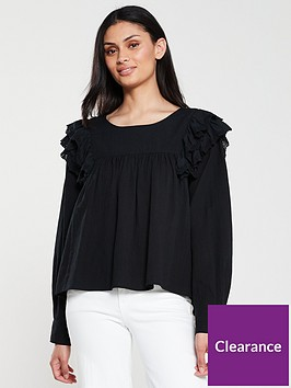 v-by-very-ruffle-shoulder-blouse-black