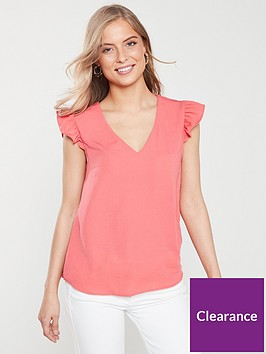 v-by-very-frill-sleeve-blouse-coral
