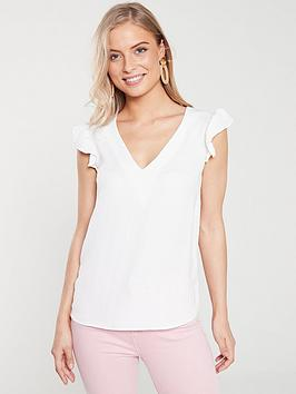 v-by-very-frill-sleeve-blouse-ivory