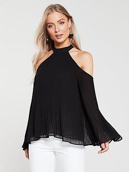 v-by-very-cold-shoulder-plissenbsptop-black