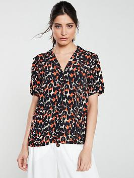 v-by-very-revere-collar-button-front-blouse-animal