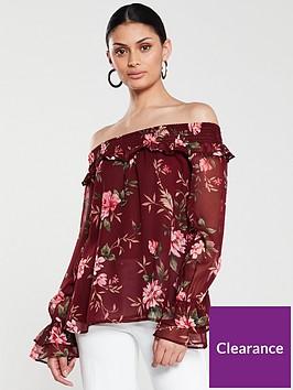 v-by-very-shirred-bardotnbsptop-floral-print