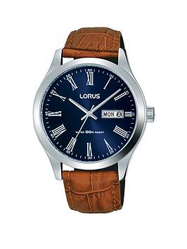 lorus-lorus-blue-sunray-daydate-dial-brown-leather-strap-mens-watch
