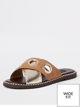 river-island-river-island-wide-fit-eyelet-cross-strap-sandal-gold