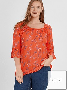 810a59a5d67 Evans Red Floral Gypsy Bardot Top