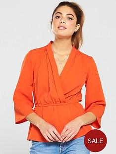 v-by-very-mock-wrap-blouse-orange