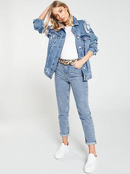 2c78a84526f2 ... V by Very Distressed Longline Denim Jacket - Mid Wash / Previous /  Next. View larger