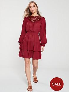 v-by-very-guipore-yoke-casual-crinkle-rayon-dress-burgundy