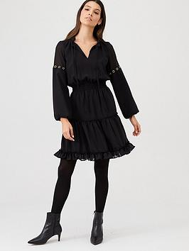 V by Very V By Very Eyelet Detail Ruffle Dress - Black Picture