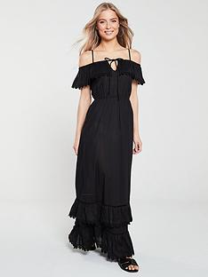 v-by-very-lace-trim-layered-cotton-maxi-dress-black