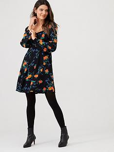 v-by-very-floralnbspshirred-back-tea-dress-black