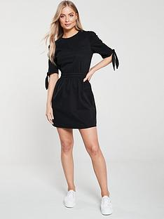 v-by-very-tie-sleeve-denim-dress-black