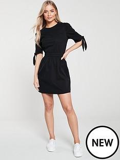 v-by-very-tie-sleeve-denim-dress-black