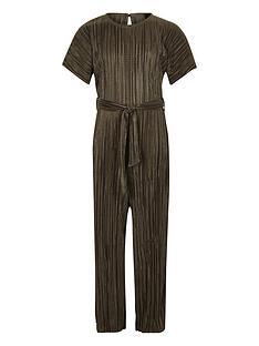49ca3975e5a River Island Girls Tie Waist Plisse Jumpsuit - Khaki