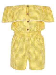 a0e52775e88 River Island Girls Gingham Bardot Playsuit - Yellow