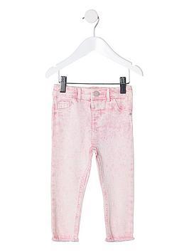 river-island-mini-mini-girls-acid-wash-molly-jeggings-pink